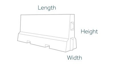 2000mm COncrete Barrier Dimensions