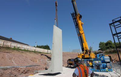Modular Precast Retaining Wall Installation