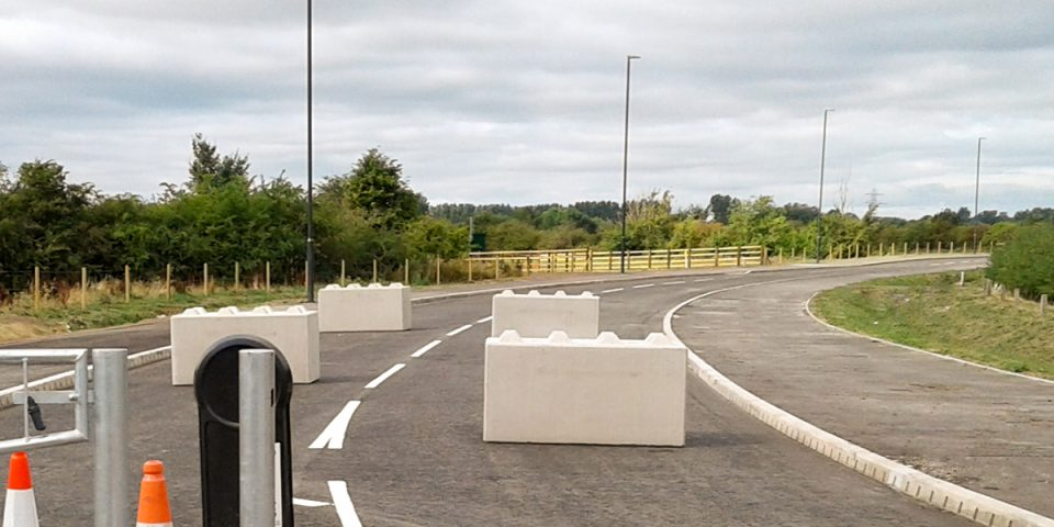 concrete lego block barriers
